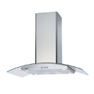 Defy 90cm Silver Curved Glass Island Extractor - CHI9427CGS