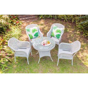 Jost White Garden Table & 4 Chairs - 8120#