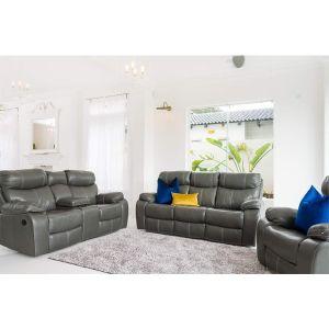 Oregon 5 Motion grey leather Lounge Suite