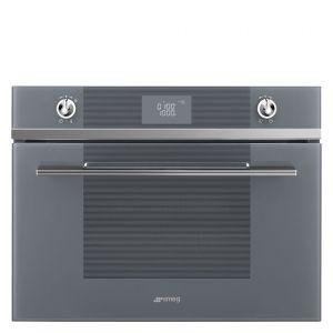 Smeg Silver Glass Linea Compact Microwave Oven - SF4102MCS